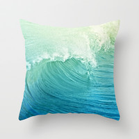 Catch the Wave Throw Pillow by Lisa Argyropoulos