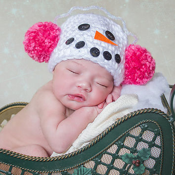 Snowman Baby Hat Newborn Photo Prop Ear Muff Pom Pom Baby Hat Newborn Baby Girl Hat White Snowman Pink Ear Muff Winter Photography Prop