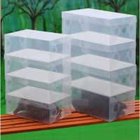10PCS/LOT Acrylic Makeup Organizer Clear Plastic Shoe Boxes 10XTransparent Stackable Foldable Box Bulk Organizador Drop Shipping