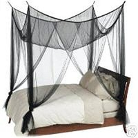 Black 4-Post Canopy Bed Net - Fits size Full Queen and King