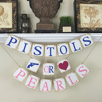 Gender Reveal, Pistols or Pearls Banner, Baby Shower Decor, Baby Shower Ideas, Blue and Pink