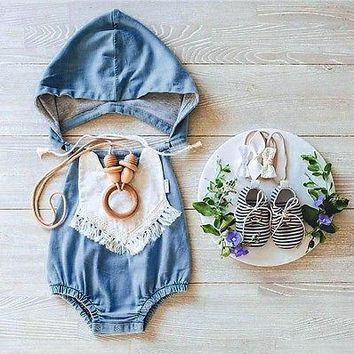 Baby Denim Rompers Top Quality Girls Jumpsuit Newborn Baby Clothes Sleeveless romper suit Overalls