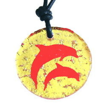 Dichroic Glass Dolphin necklace