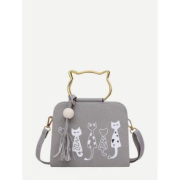 Grey Cartoon Print Pu Shoulder Bag With Cat Ear Handle