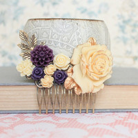 Cream Rose Comb Yellow Ivory Rose hair Comb Wedding Hair Accessories Dark Purple Flower Comb Big Rose Bridal Hair Comb Leaf Branch Comb