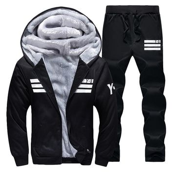 Tracksuits Men 2017 Men's Winter Tracksuit Set Solid  Suit Men Track suits Sets Coat+Pants Outwear Baseball Jacket and Sweatpant