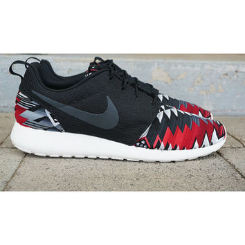 "New Nike Roshe Run Custom Red Black Gray Tribal ""Chopped Tribal"" Edition Men Sizes 8 - 15"