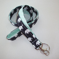 Elephant Lanyard ID Badge Holder - navy blue Black and white elephants with white polka dots on mint - Lobster clasp and key ring