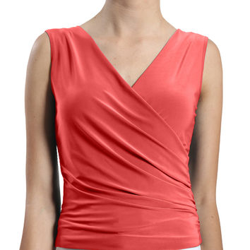 Womens Deep V Neck Sleeveless Top with Side Detail