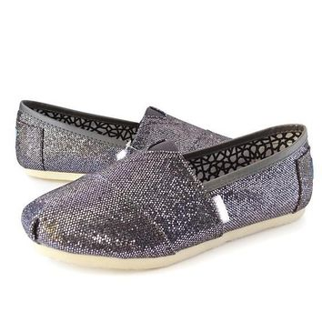 Iron Gray Square Toe Flat Sequin Casual Shoes