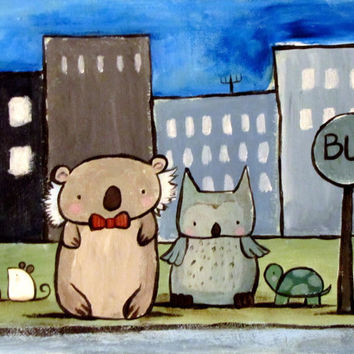 Children's Art Bus Stop Animals City Original Acrylic Painting Nursery Art Koala Bear Mouse Owl Turtle Kids Wall Art Whimsical Cute