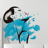 Watercolor Sensual Woman Wall Decal Art - Sticker, wall art home decor decal wall decor murals graphic wall decal housewares