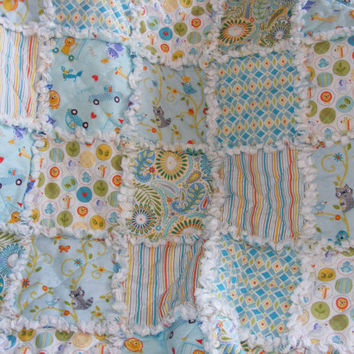 Baby Rag Quilt, Crib Quilt, Toddler Quilt, Nursery Blanket,Happi by Dena Designs, 35 X 48. Aqua, Orange, Yellow, Handmade, Ready to Ship
