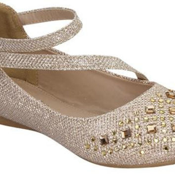 Toddler's Gold Glitter Shoe with Rhinestones