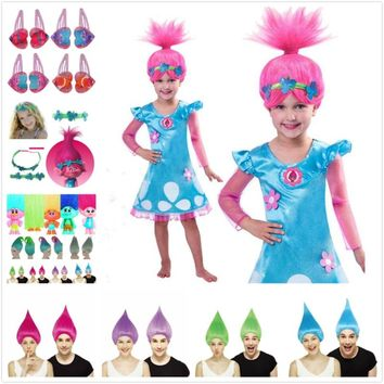 Trolls Girls Dresses Poppy Cosplay Costumes Dress For Girls Hairclip Props Headwear Halloween Clothes Kids Fancy Dress Girl Wig