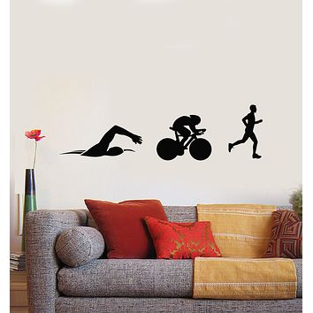 Vinyl Wall Decal Silhouettes Athlete Triathlon Swimming Cycling Running Stickers Mural (g577)