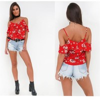 Summer 2017 Sexy Backless Print Flower Women Tank Tops Girls Camis Elegant Halter Tops Party Cute Bustier Crop Top TS56
