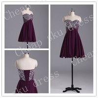 Short A-Line Sweetheart Beads Lace-up High Quality Cheap Chiffon Ruffle Piping Short Bridesmaid /Party / Evening /Prom / Formal Dresses 2014