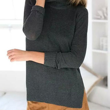 Deep Gray Turtleneck Long Sleeve Side Slit Sweater