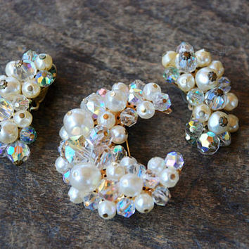 Vintage Brooch Clip On Earrings Set Faux Pearl Aurora Borealis Glass Beads Crescent Moon Mid Century 1960's // Vintage Costume Jewlery
