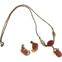Vintage 1950s Van Dell Goldstone Choker Necklace and Earrings Set