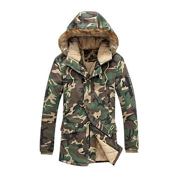 Winter Mens Clothing Thick Warm Long Camo Jackets Thick Winter Coat Military Men Parka With Fur Hood Fashion Overcoat Outerwear