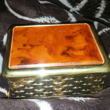 Stunning Vintage Bakelite and Gold Tone Metal Hinged Trinket / Vanity /  Jewelry Music Box  Made in Japan