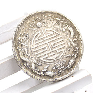 Feng Shui Chinese Double Dragons Bead Lucky Coins Auspicious Copper Coin