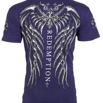 Licensed Official Archaic AFFLICTION Mens T-Shirt SPINE WINGS Tattoo NAVY Biker Gym MMA UFC $40