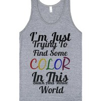 Black And White World-Unisex Athletic Grey Tank