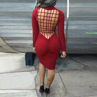 Weaved Cut-out  Back Long Sleeves Bodycon Dress