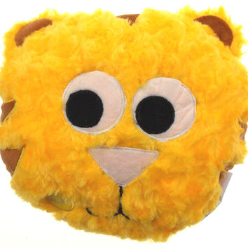 "Yellow Cat Pillow Multi Color LED Light Up Flash Plush 10"" Microbeads Home Decor"