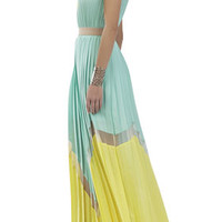 Kathrine Pleated Color-Blocked Long Dress