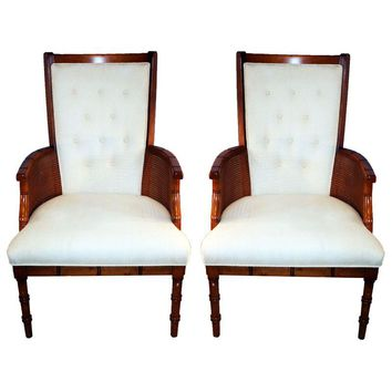 Pre-owned Faux Bamboo High Back Chairs - A Pair