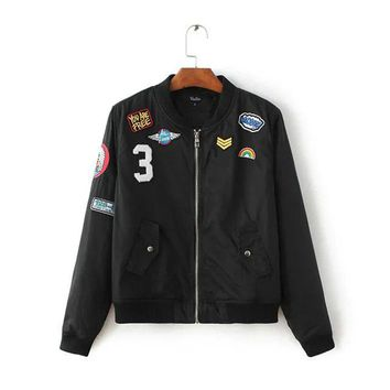 Retro Bomber jacket with Patches 2 Colors