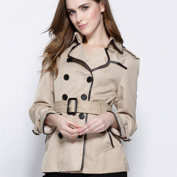 Spring New Women Trench Coat Solid Double Breasted Casual Coat Womens Slim Designer Outerwear Ladies Short Overcoat
