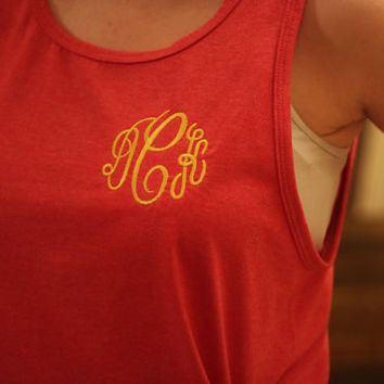 Monogrammed Boyfriend Tank, Greek Embroidery Available