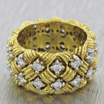 1980s Vintage 18k Solid Yellow Gold 1.40ctw Diamond Wide Weave Wedding Band Ring