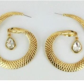 "2.75"" gold .50"" dangle crystal pierced snake big hoop earrings basketball wives"