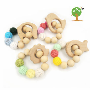 4 PCS SALE Organic nursing toy CROCHET BRACELET BEECH BIRD elephant fish hedgehog  teether PASTEL BABY GIFT   ET63