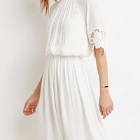 Crochet Trim High-Neck Dress