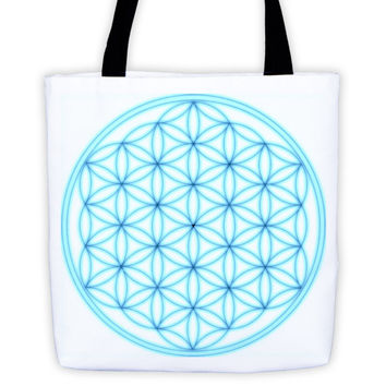 Aqua Flower of Life Tote bag
