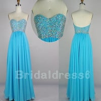 2014 Beads Ice Blue Sweetheart Strapless Long Ruffled Backless Celebrity Dress,Floor length Chiffon Evening Party Prom Homecoming Dress