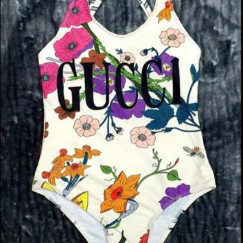 Gucci Floral One piece Bikini Swimsuit Sets Summer Stylish Beach Ocean