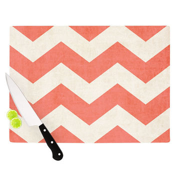 "Ann Barnes ""Vintage Coral"" Cutting Board - Great Hostess Gift - Matches Placemats!"