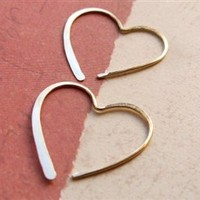 Gold Heart Earring Hoops