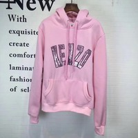 """Kenzo"" Women Casual Fashion Sequin Letter Tiger Head Embroidery Long Sleeve Hooded Sweater Sweatshirt Tops"