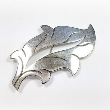 Vintage Taxco Sterling Silver Leaf Brooch Beto Taxco Mexico 925 Ethnic Jewelry Designer Signed Floral Foliage Themed Nice Detail