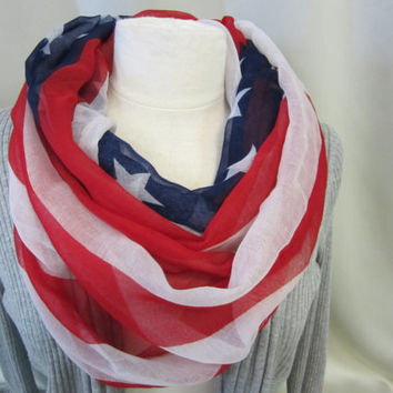SALE  Labor Day American flag old glory  infnity eternity scarf scarves / FREE SHIP U S A / catherine cole studio lightweight fabric
