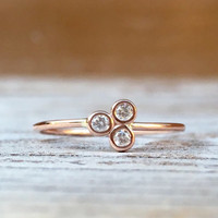 14K Triple Diamond Ring, 14k Rose Gold, 14k Yellow Gold, Real Gold, Solid Gold, Triangle Ring, Asymetrical Ring, Dainty Jewlery, Minimal